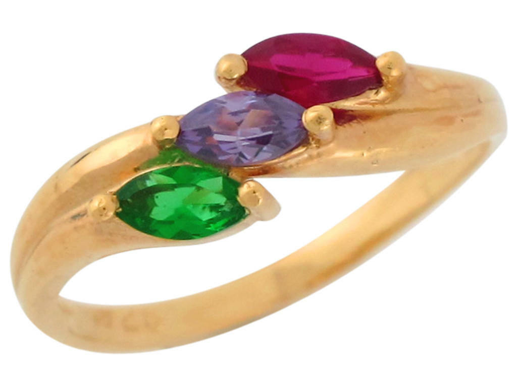 10k or 14k Solid Yellow gold 3 Stone Marquise Cut CZ Mothers Ring