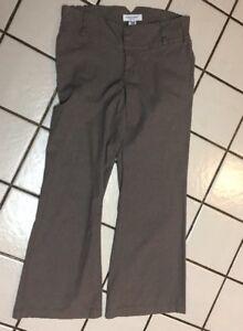 LIZ-LANGE-MATERNITY-stretch-cotton-Brown-Tweed-Zip-Fly-Career-Trouser-Pants-Sz-8