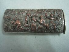 Antique box for cigarette lighter or a match holder with scenes of a party metal