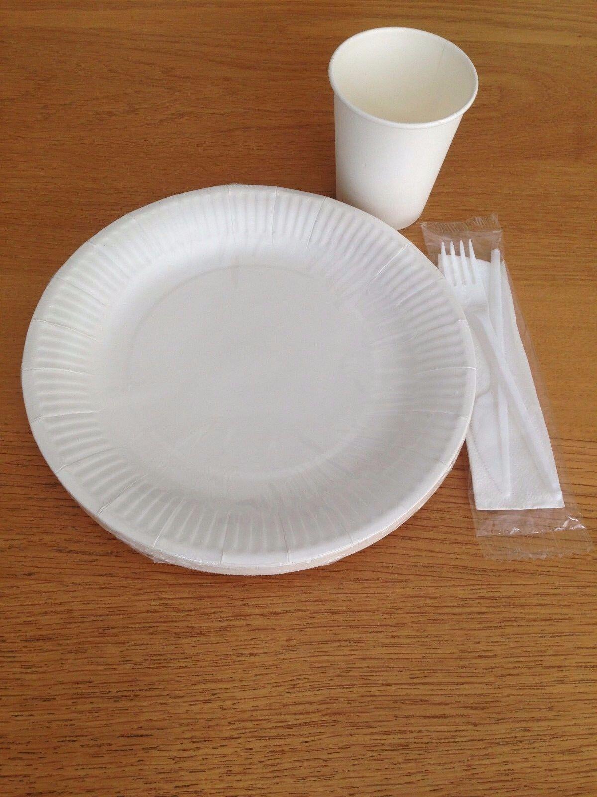 Lot de jetables papier 8 oz (environ 226.79 plaques g) Tasses Blanc 7 in (environ 17.78 cm) plaques 226.79 fourchette couteau Vaisselle Fête cd370f