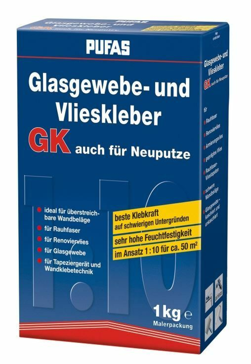 5 x 1 kg Pufas Glasgewebe und Vlieskleber Kleister Kleber Glasfaser