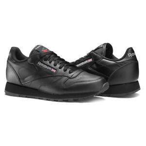 SCARPE-Reebok-Classic-Leather-total-Black-pelle-sneakers-junior-unisex-Nere