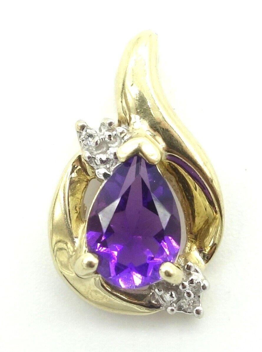 10k Solid gold Amethyst and Diamond Pendant Flowing Design Purple Gemstone