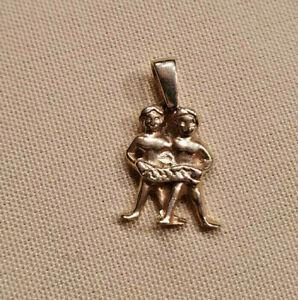 Zwilling-Sternzeichen-Anhaenger-echt-Gold-585-massiv-14kt-Tierkreiszeichen
