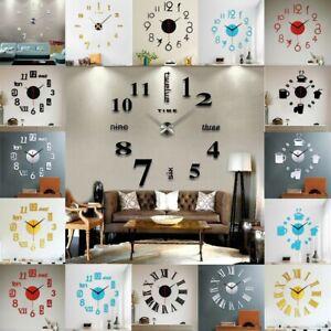 Wall Clock Home Office Decor Large Number DIY Art Decal Modern 3D Mirror Sticker