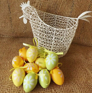 12 Blanc Marron Naturel Pastel Plastique oeufs de Pâques à suspendre décoration chasse Bonnet