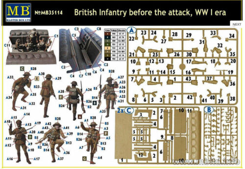 Master Box 35114 WWI British Infantry Before the Attack Trench plastic kit 1//35