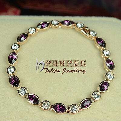 18CT Rose Gold GP Elegant Amethyst Bracelet Made With SWAROVSKI CRYSTALS