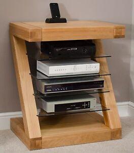 Z Solid Oak Designer Furniture Hi Fi Cabinet Dvd Console Storage