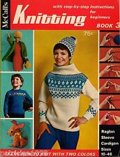 McCalls Knitting for Beginners Ski Sweater Hat Mittens Barbie Vintage 1967