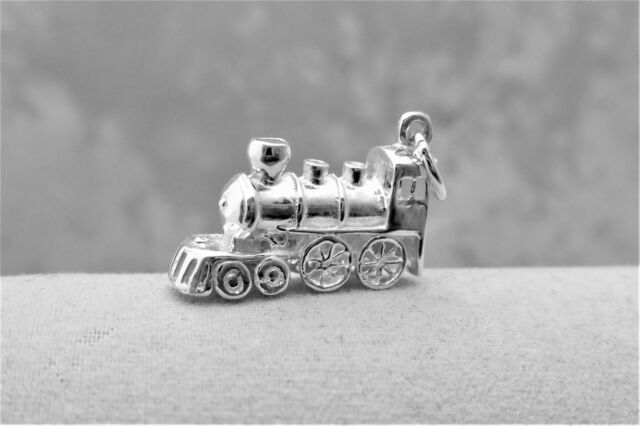 """Sterling Silver (925)  Solid 3D Charm """"Locomotive"""""""