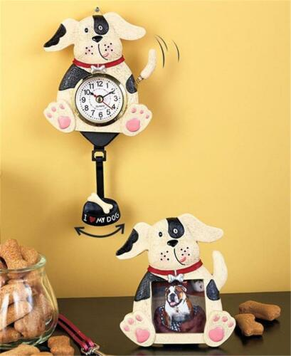2 PC WHIMSICAL PET DOG LOVER SWINGING PENDULUM CLOCK AND PICTURE FRAME GIFT SET