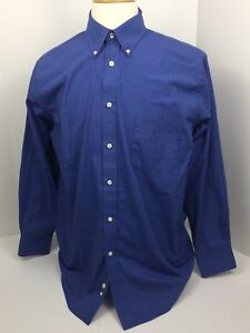 Chaps-by-Ralph-Lauren-Wrinkle-Free-Oxford-Blue-Micro-Check-Shirt-Men-039-s-16-32-33