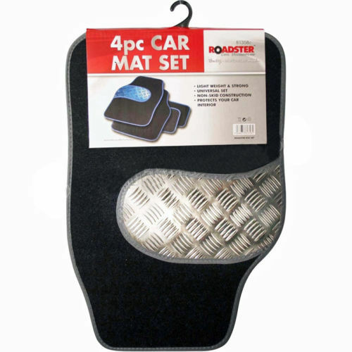NEW 4PC UNIVERSAL FIT CAR MAT SET MATS CARPET NON SLIP VAN TRUCK TRIM ALUMINIUM
