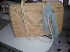 VINTAGEC ZIP UP SQUARE WICKER STRAW BAG PURSE ROPE  HANDLES WITH  WOODEN BALLS