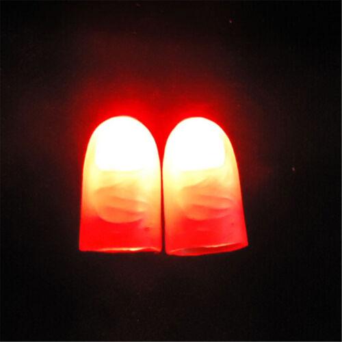 2Pcs Magic Trick Props Novelty LED Light Flashing Fingers Kids Glow Toys GNKH