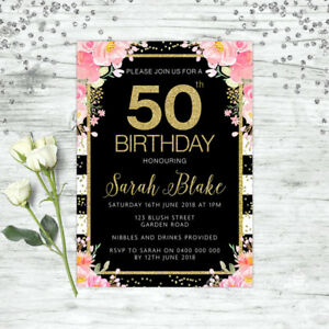 50th Birthday Invitations Gold