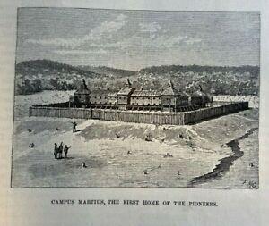 1885 Marietta Ohio Rufus Putnam Campus Martius Fort Harmar illustrated