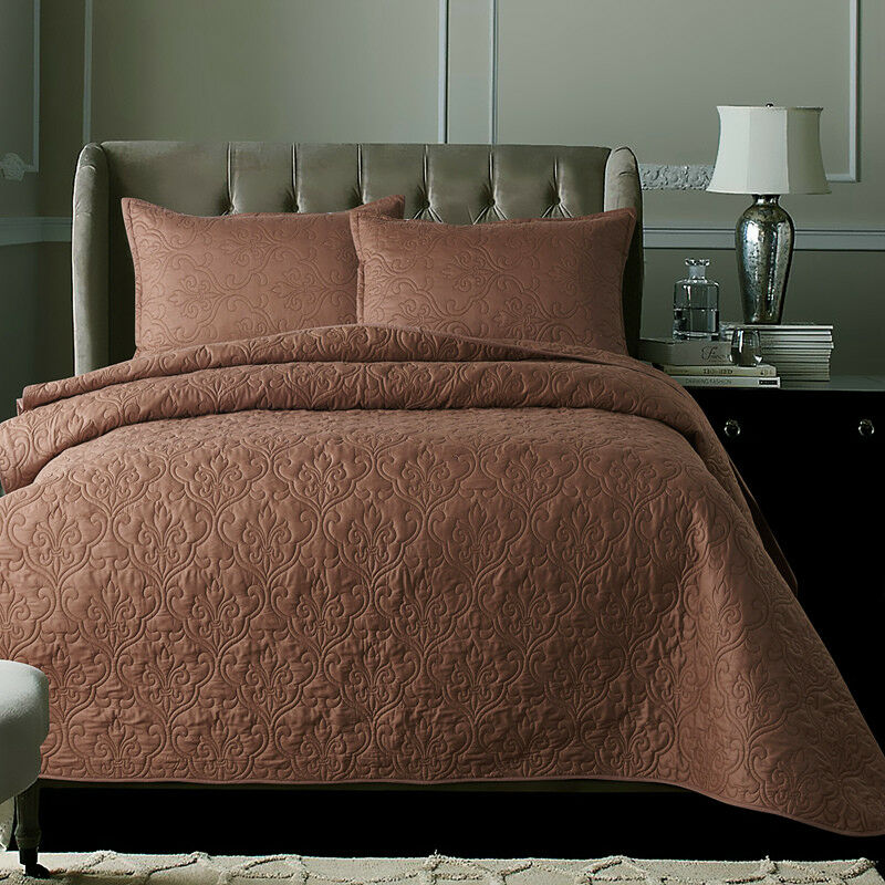 Cotton Patchwork Quilted Coverlet Bedspread Set Queen King Size Size Size Bed Pillowcase f912f5