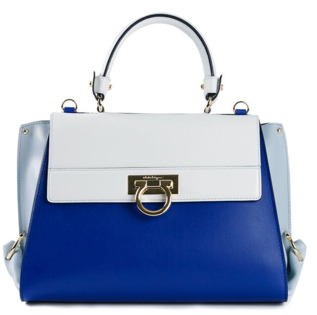 Frequently bought together. SALVATORE FERRAGAMO blue white Colorblock Leather  large Sofia Tote Bag Purse f6997ad5ec0b0