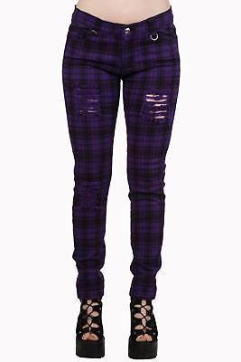 Purple Tartan Check Skinny Slashed Ripped Emo Rockabilly Trouser Banned Apparel