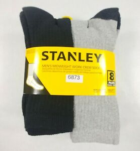 Pack Cushioned Work Socks Fit Men/'s Shoe Sizes 6-12  NEW STANLEY 4