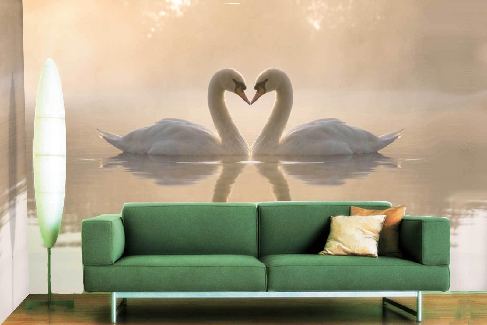 3D Weiß Swan 452 Wallpaper Murals Wall Print Wallpaper Mural AJ WALL UK Jenny