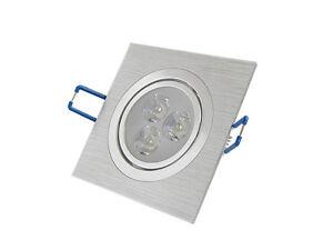 50pcs-3W-LED-Spot-Encastrable-Orientable-Lumiere-Blanc-Carre-Argente-Plafonnier