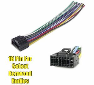 Car Stereo Radio Replacement Wire Harness Plug for select Kenwood 16 on jvc car stereo wiring harness, kenwood car stereo wire harness, kenwood kdc mp342u wiring harness, kenwood 16 pin connector,