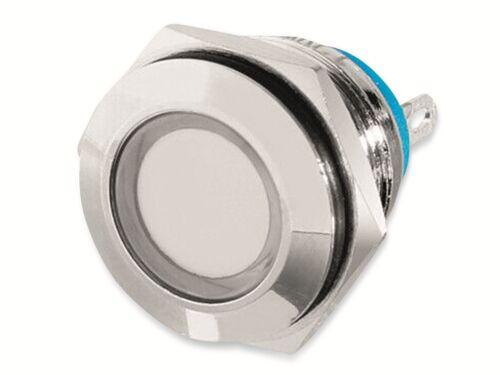 Ø16 mm Tiefe 22 mm LED-Kontrollleuchte Signalleuchte 12 V Messing Weiß