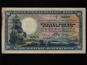 South-Africa-P-88b-20-Pounds-1933-Sailing-Ship-RARE-VF