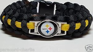 2ca6a336276 Image is loading Pittsburgh-Steelers-Black-amp-Gold-Paracord-Bracelet-or-