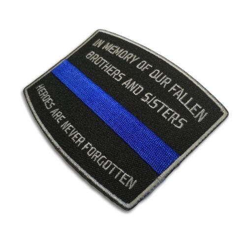 Embroidered Fallen Officer Memorial Blue Line Sew or Iron on Patch Biker Patch