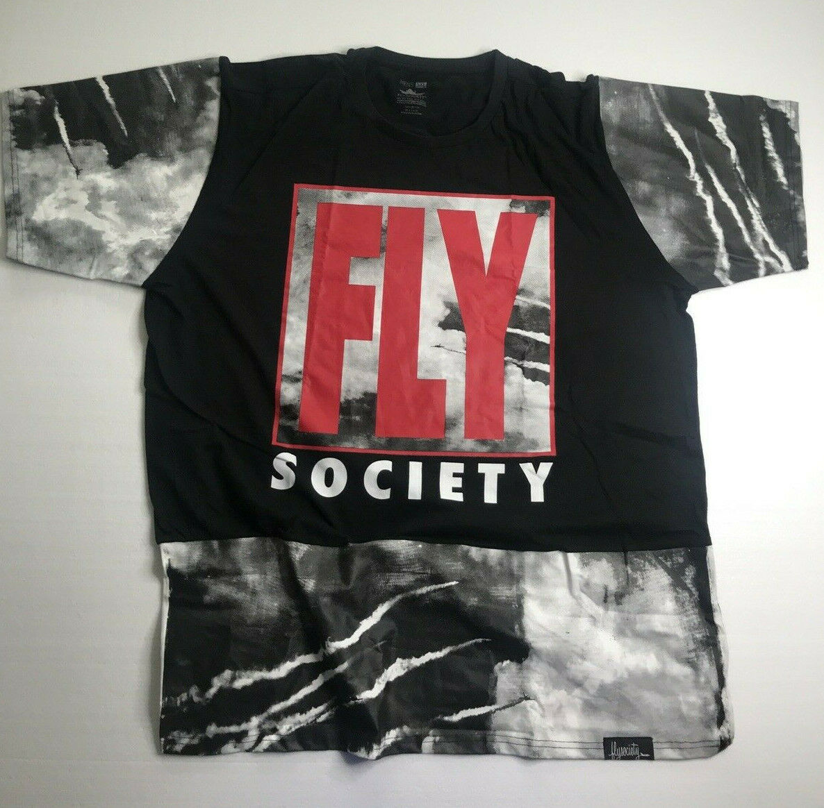 5XL Fly Society Black Red Rare & Unique Graphic Designed Styled T Shirt Top