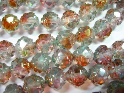 25  7x8mm Czech Glass Pink Crystal Luster Rosebud beads