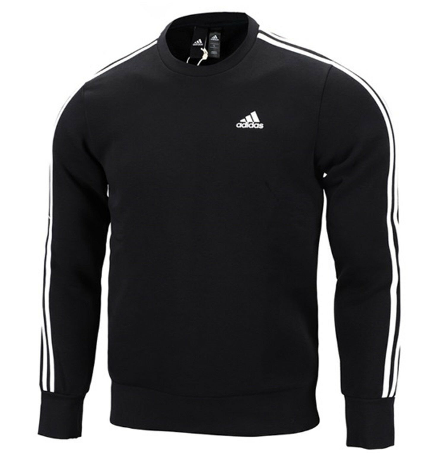 Adidas Hombre Esencial 3S Crew camisas L S Camisa Camiseta
