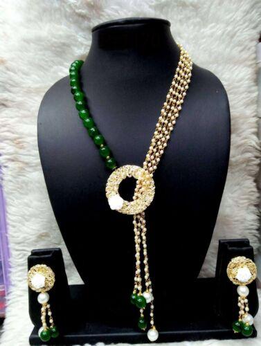 Indian Ethnic Bollywood Gold Tone Wedding Fashion Pearl Jewelry Necklace Set