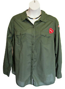TORRID Army Shirt Size 1 14 16 1X Green Blouse Patches Cotton Military Peace