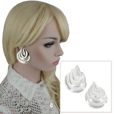 "Vintage 1980S Earrings Clip On Large Big Silver Tone Biomorphic Teardrop 2 1/8"""
