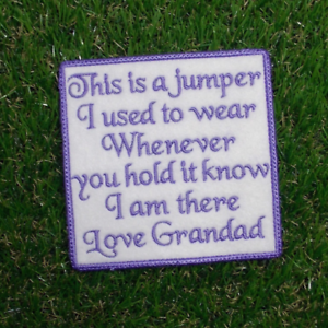 Square Shaped Personalised Memory Dedication Patch for Bear This is a Jumper