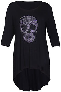 damen top t shirt totenkopf 3 4 rmel schwarz bergr e ebay. Black Bedroom Furniture Sets. Home Design Ideas