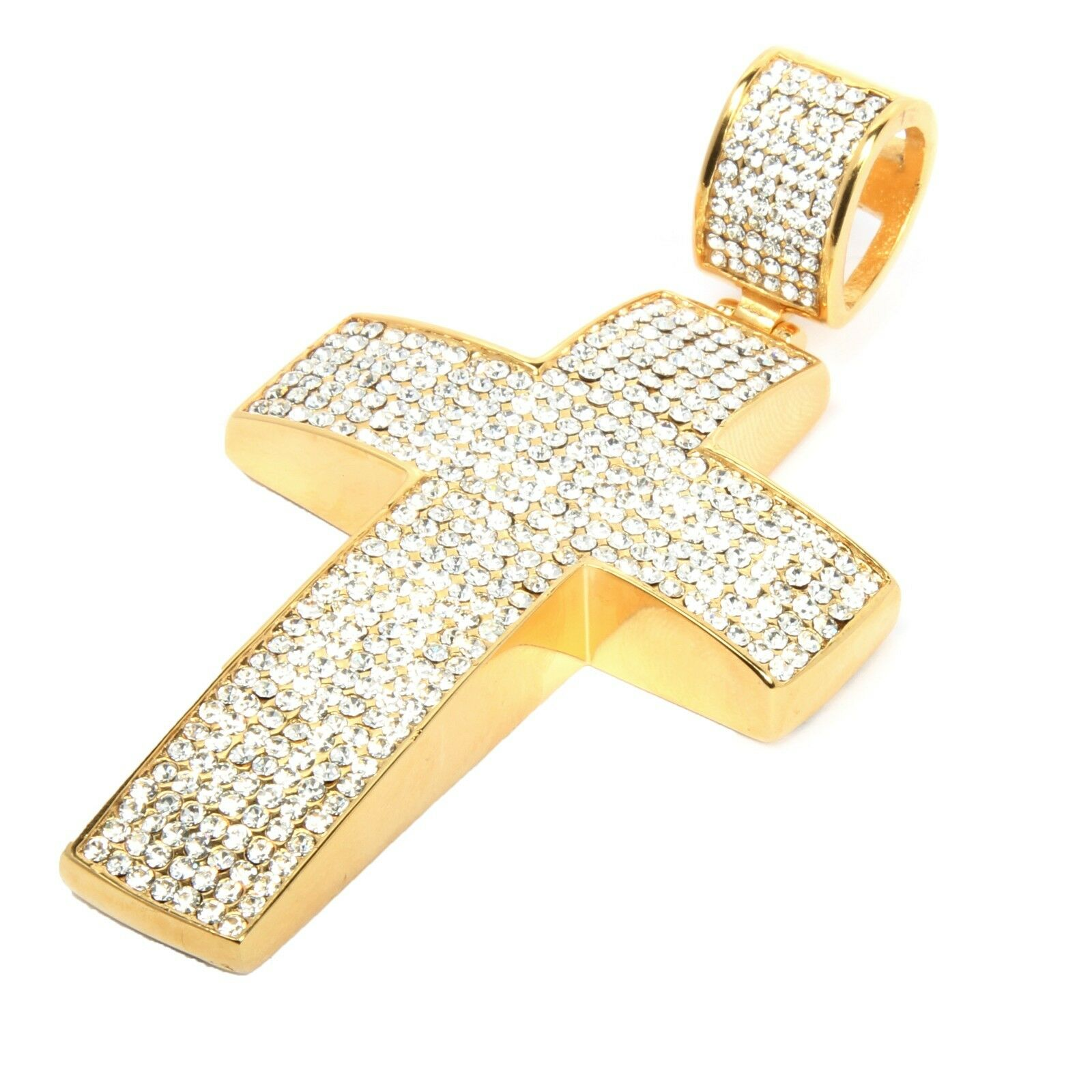 Mens 14k gold Plated Iced Out Hip Hop Large Cross Stainless Steel Pendant K9