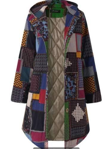 Womens Long Sleeve Winter Jacket Floral Perka Patchwork Thick Jacket Hoodie Coat