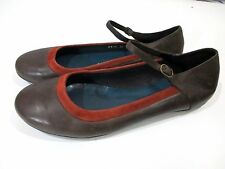 Vialis Brown Leather Ballet Flats Ankle Strap Women's 39 7 Orange Suede Trim