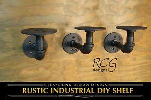 Three-2x3-034-L-Brackets-DIY-Pipes-6-034-8-034-deep-shelf-urban-steampunk-rustic-decor