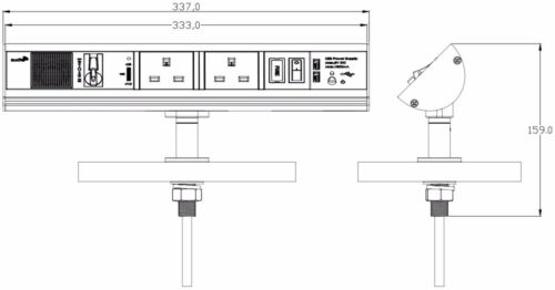 Cocina encimera Escritorio Mostrador 2 Gang Socket 2 puertos USB y construido en el altavoz