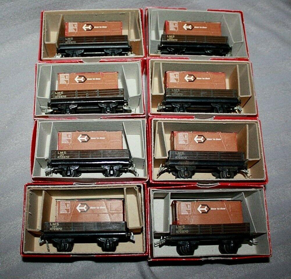 Rake of 8 x Vintage Trix OO HO LMS 3 Plank Platform Wagon   Trucks, No 600