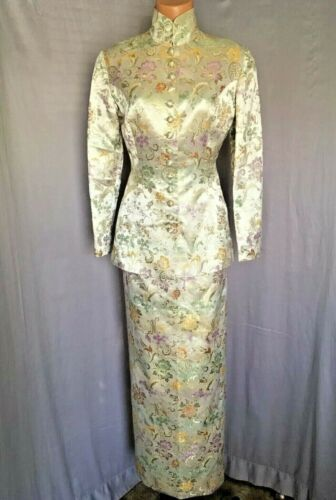 Vintage Gold Floral Metallic Asian Pencil Skirt Fl