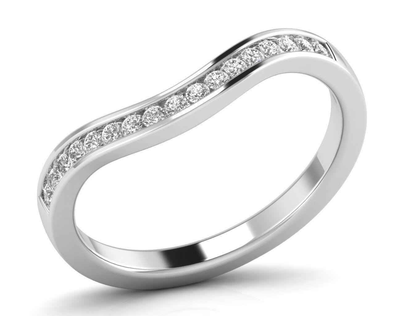 0.25 carat Round Brilliant Cut Diamonds Wishbone Shaped Wedding Ring in 18K gold