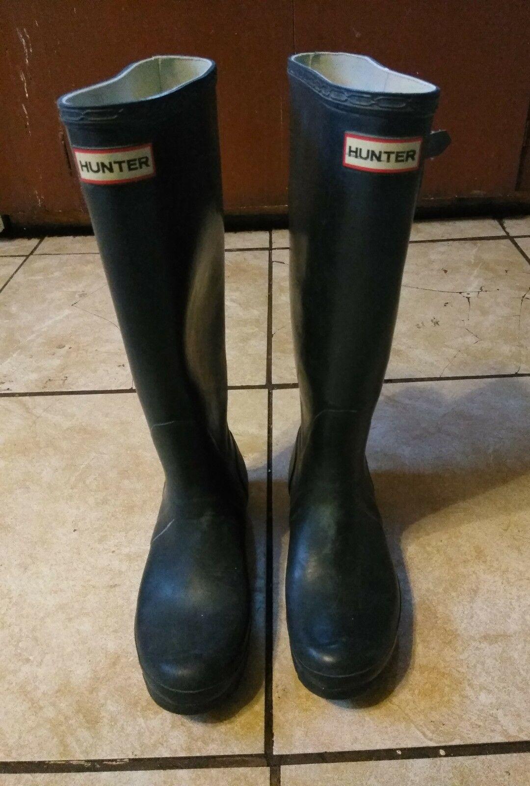 Used Hunter Original Tall Matte Navy Blau  Rainboots Rain Stiefel Größe 6M 7F
